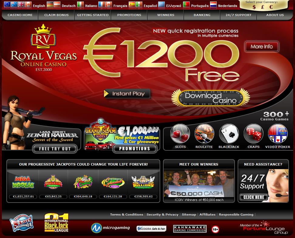 royal vegas online casino download book fra