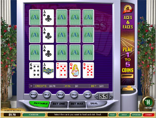 Aces and Faces 4-line Video Poker